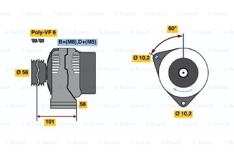 Generator utbytes 14V/115A