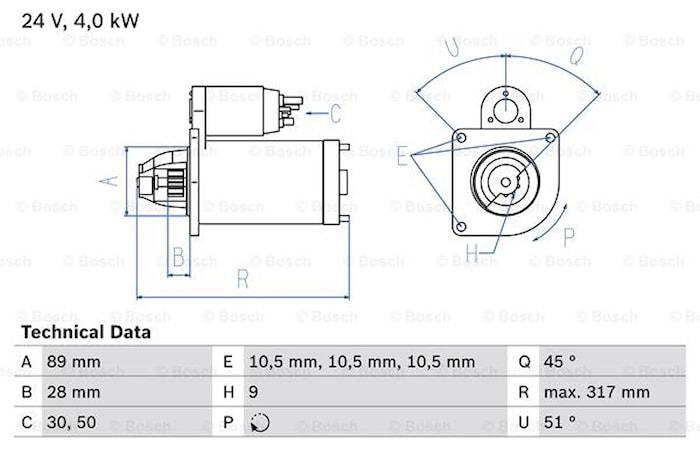 Startmotor utbytes 24V/4kW