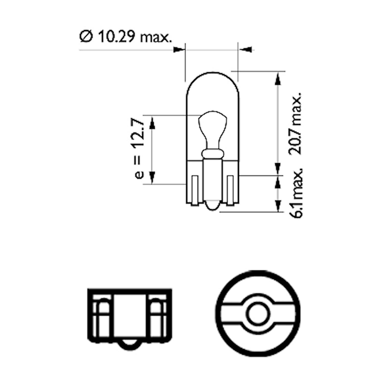 Glödlampa 12V 5W W2,1x9,5d ED