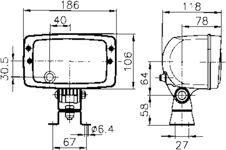 Strålk H4 f påbyggn 186x106mm