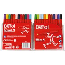 Berol Colourbroad, 1,7 mm spets, dia. 10 mm, 24 mixade