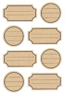 Craft paperitarrat, raidallinen etiketti 15/10 cm, 32 kpl