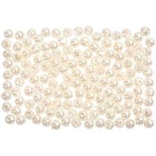 Vaxpärlor, dia. 3 mm, hålstl. 0,7 mm, 150 st., pärlemor