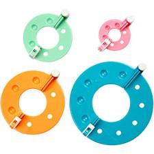Pom Pom maker, dia. 3,5 - 8,5 cm, 4 mixade