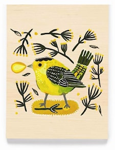 Green bird greeting card