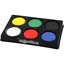 Vattenfärger i palett, dia. 44 mm, H: 16 mm, 6 mixade, primärfärger