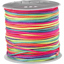 Multicolor knytsnöre, tjocklek 1 mm, 28 m, neon multi