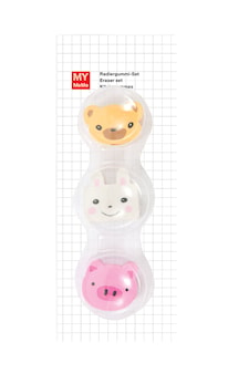 Eraser Set Animal Faces 3 Pcs, ca 3 x 3 cm