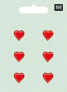 Knappar Hjärta, Röd 6 st, 1,5cm