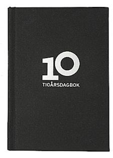 10-årsdagbok, linnetextil svart-1133