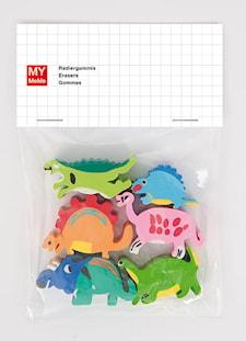 Pyyhekumit, Dinosaurus, 6 kpl, n. 3 x 3 cm