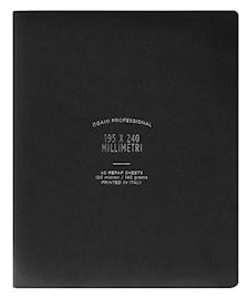 Muistikirja, paperi valmistettu kivestä. Pehmeäkantinen. Iso. Musta. Viivoitetut sivut.