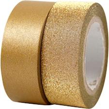 Washitejp, B: 15 mm, 2 rullar, guld