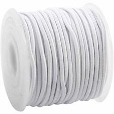 Elastiskt snöre, tjocklek 2 mm, 25 m, vit