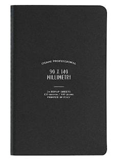 Muistikirja, paperi valmistettu kivestä. Pehmeäkantinen. Pienikokoinen. Musta. Tyhjät sivut.
