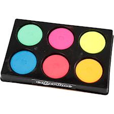 Vattenfärger i palett, dia. 44 mm, H: 16 mm, 6 mixade, neonfärger