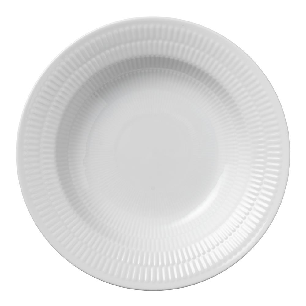 White Fluted Tallrik djup 21 cm
