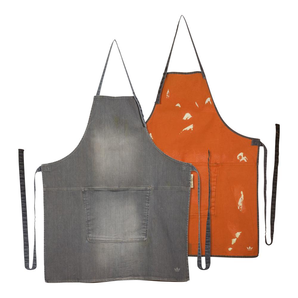Förkläde denim Grå/orange