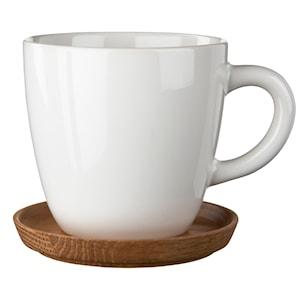 Kaffemugg med träfat 30 cl Vit blank