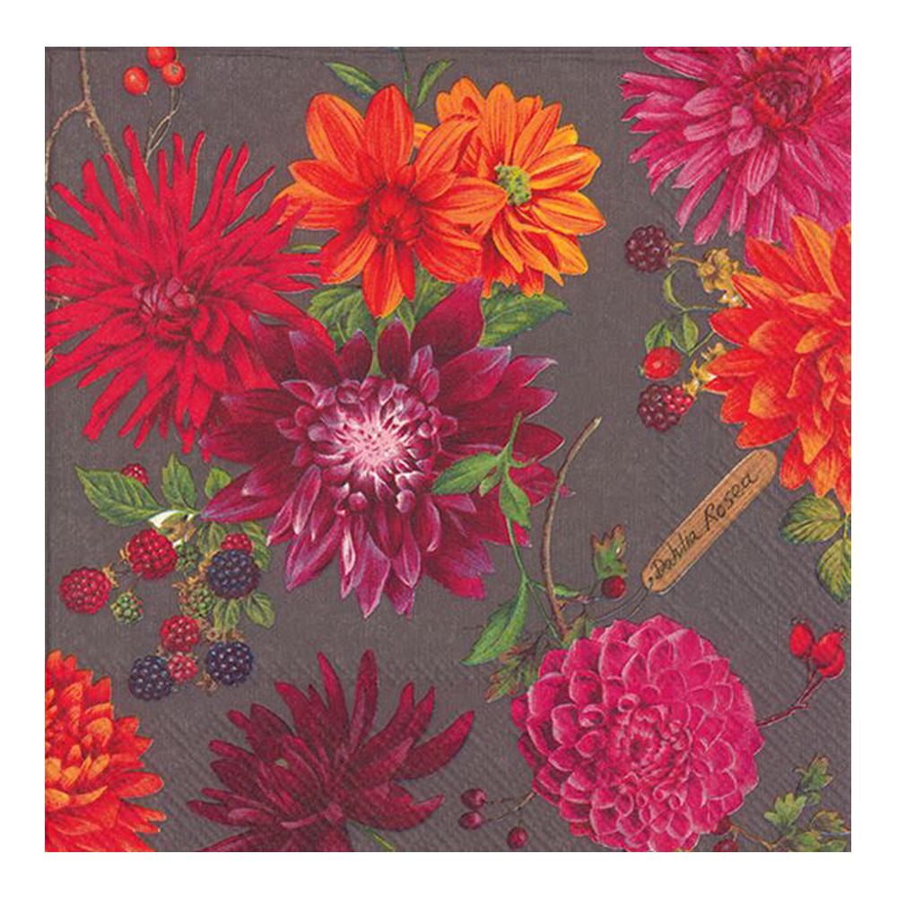 Servett 33x33 cm 20-pack Dahlia Garden Grey