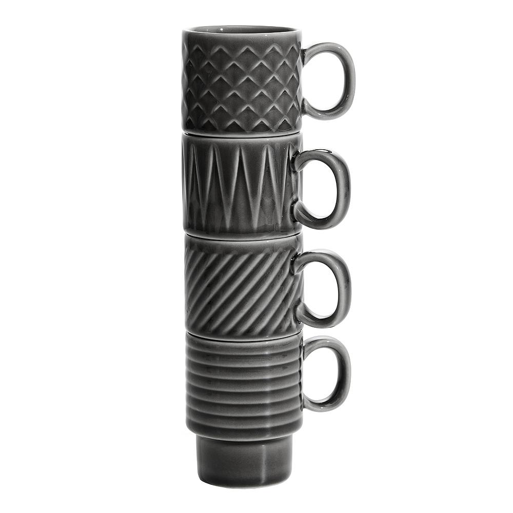 Coffee & More Espressokopp 10 cl 4-pack Grå