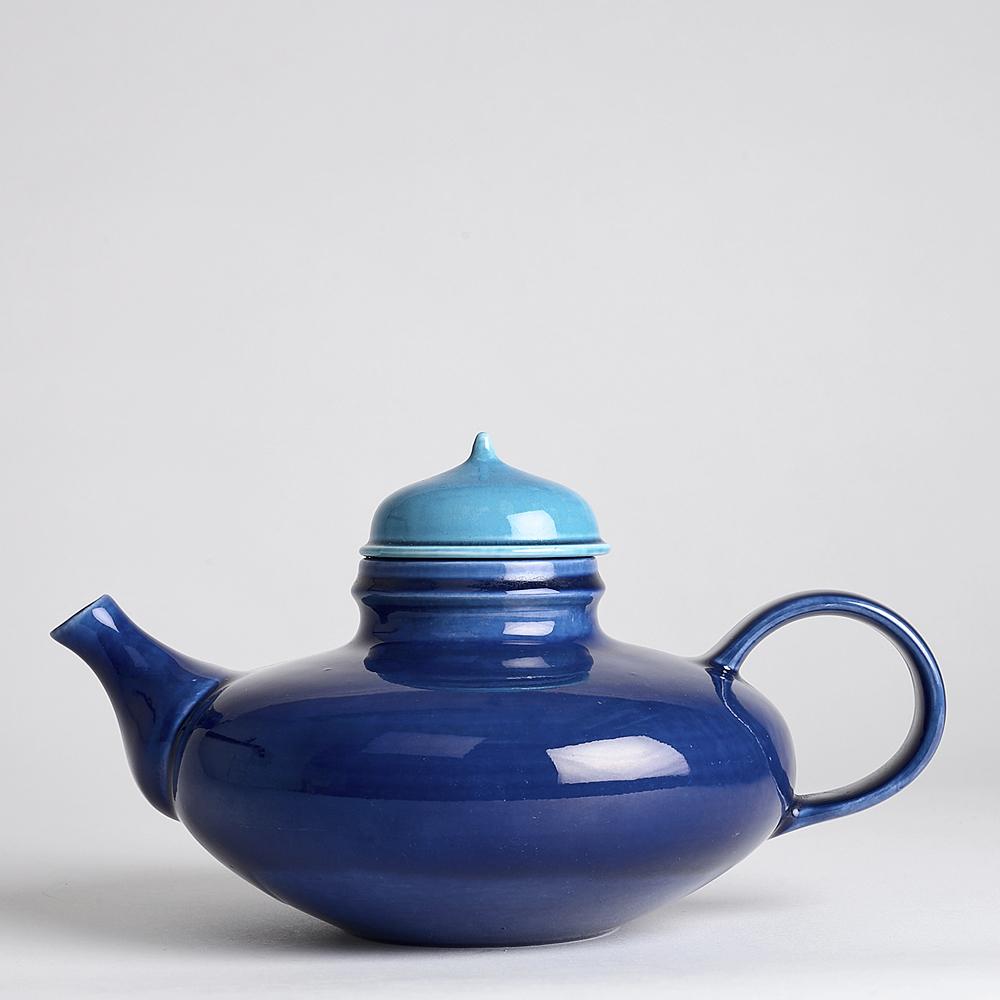 SÅLD Vintage Pop Tekanna 14 cm Blå