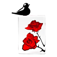 Black Bird Röda rosor med fågel 10,5x15 cm
