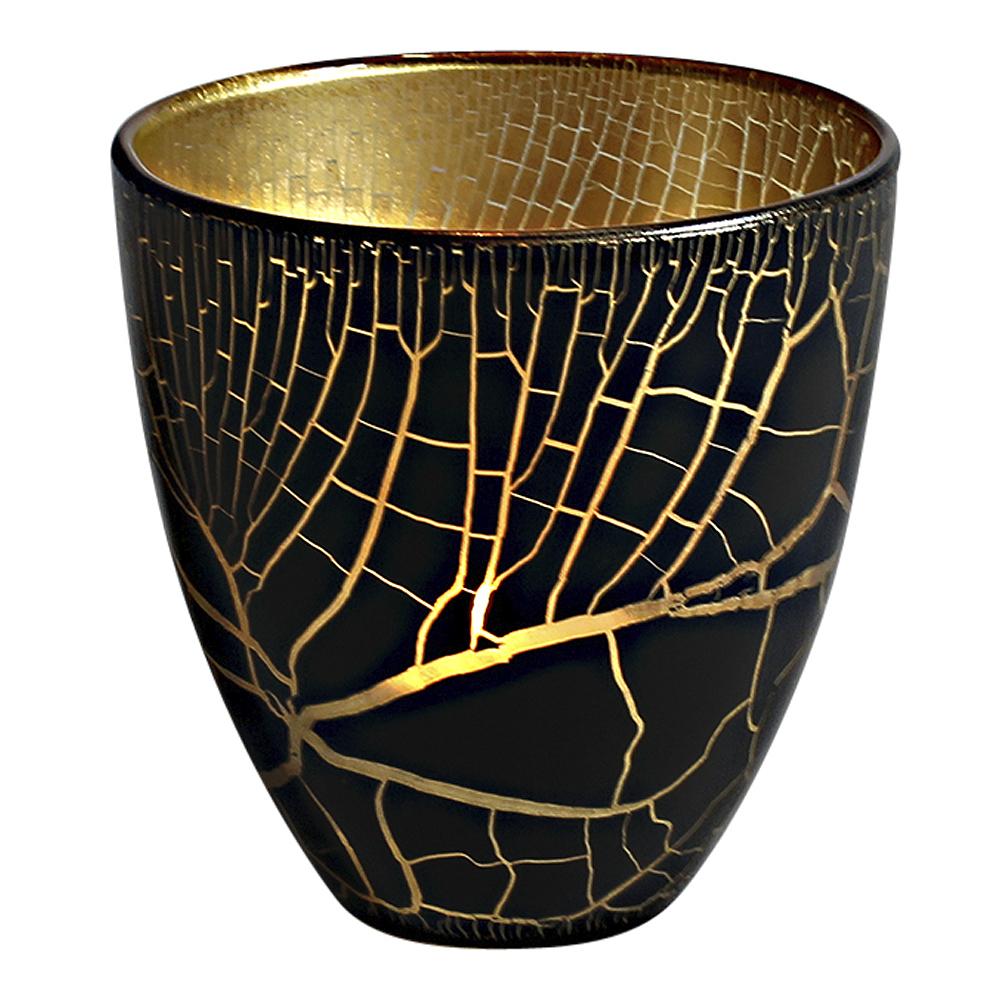 Croco Ljuslykta 10 cm Svart/Guld