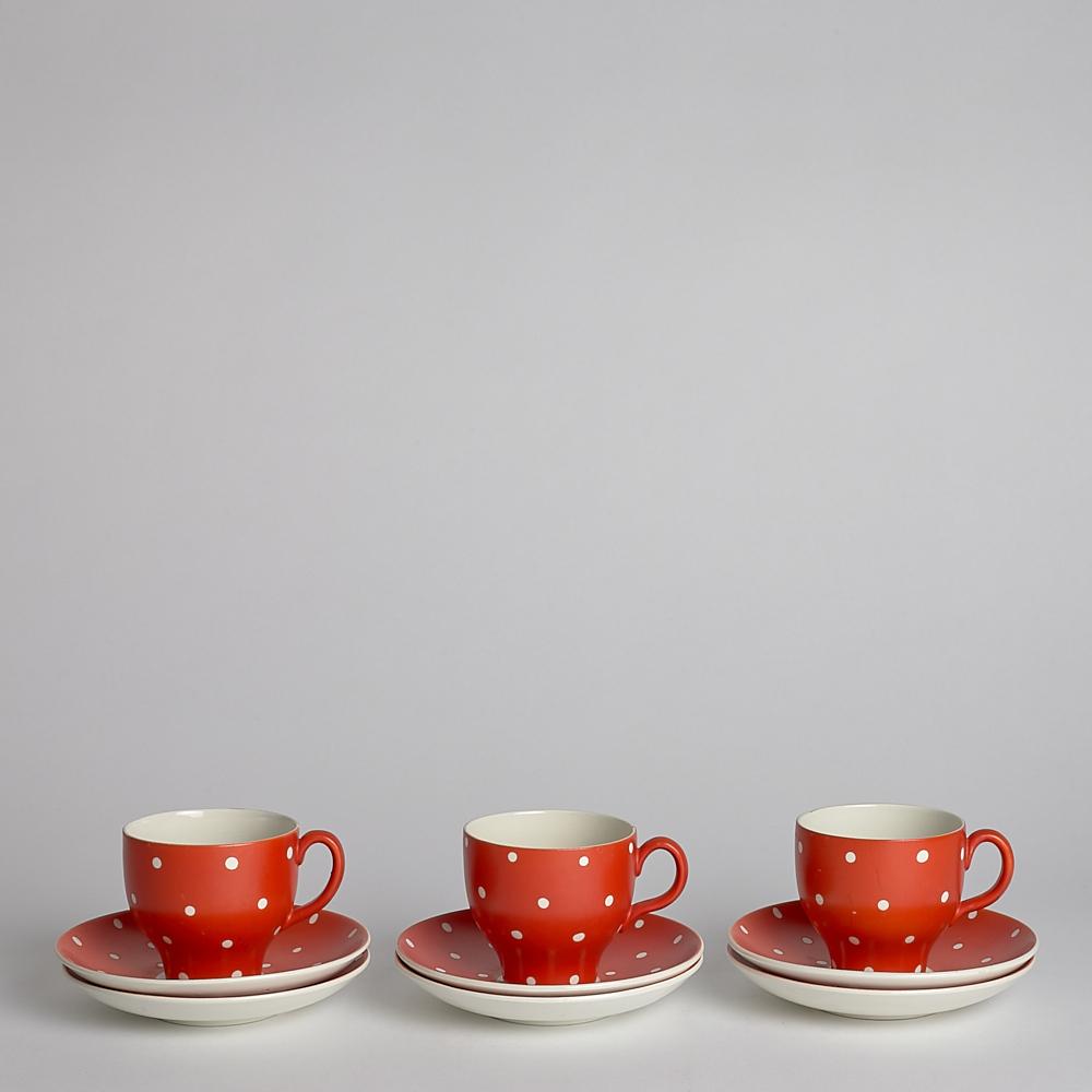 Vintage Amanita Kaffekopp med Fat 3-Pack