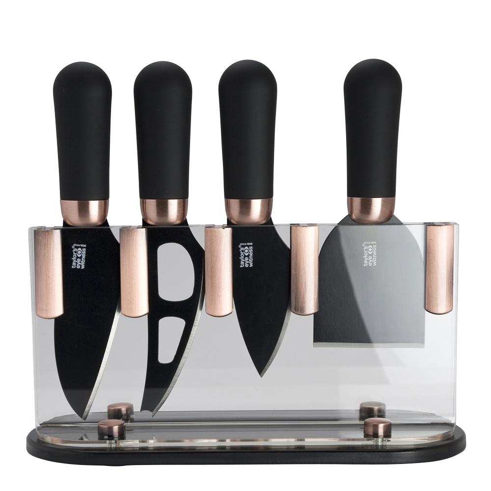Ostset 4 knivar/ställ Koppar