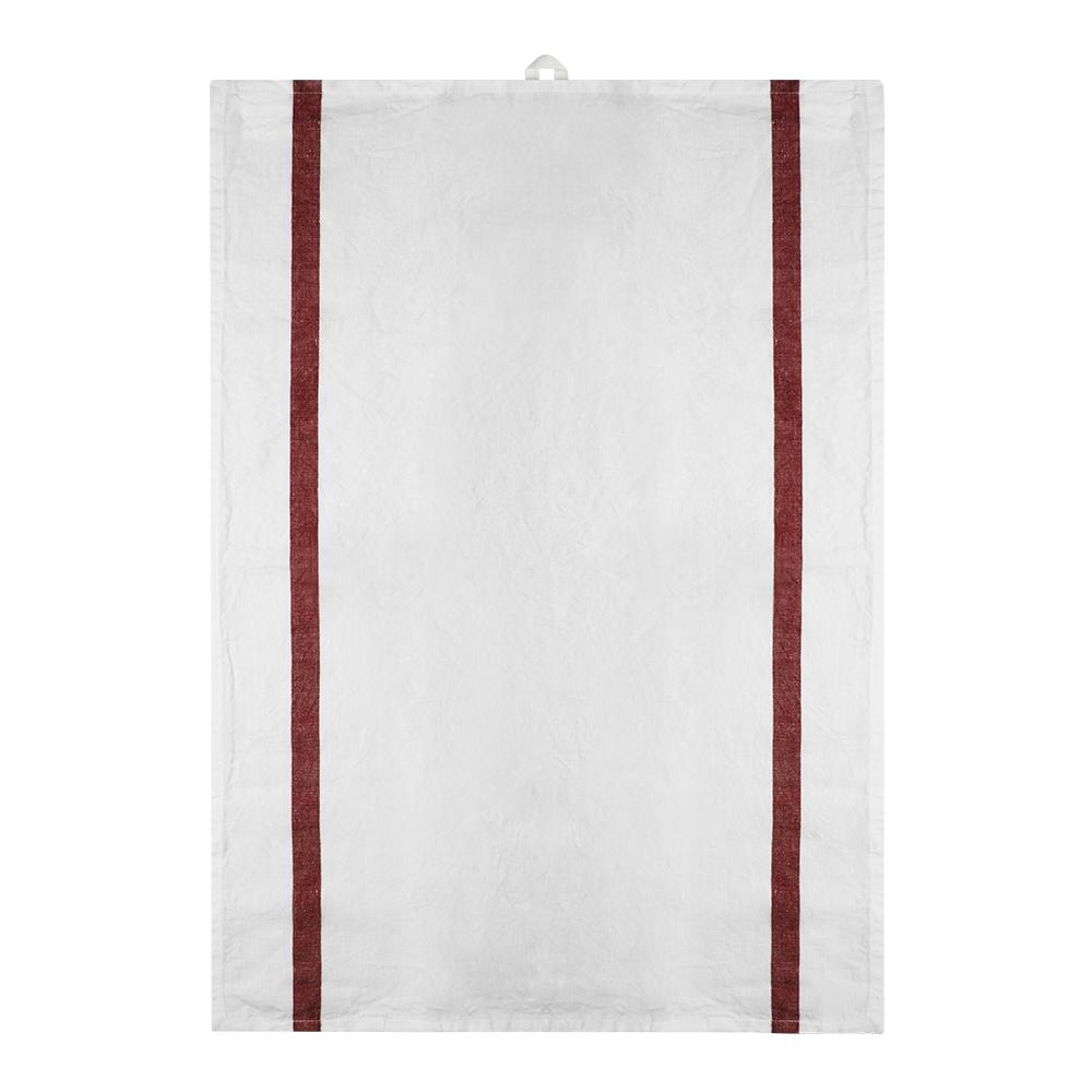 Signerat Handduk 50x70 cm Röd bred rand