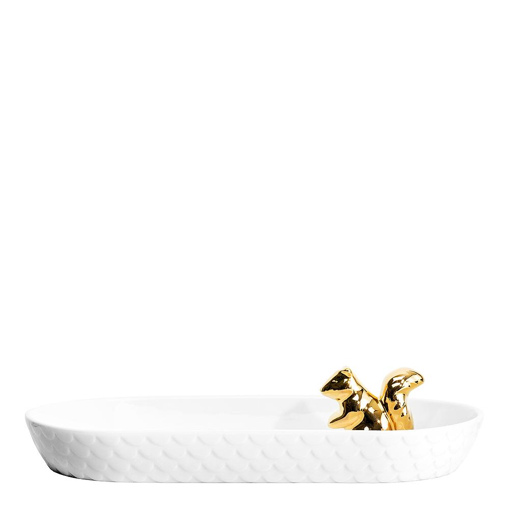 Winter Serveringsfat Ekorre ovalt 26 cm Vit/Guld