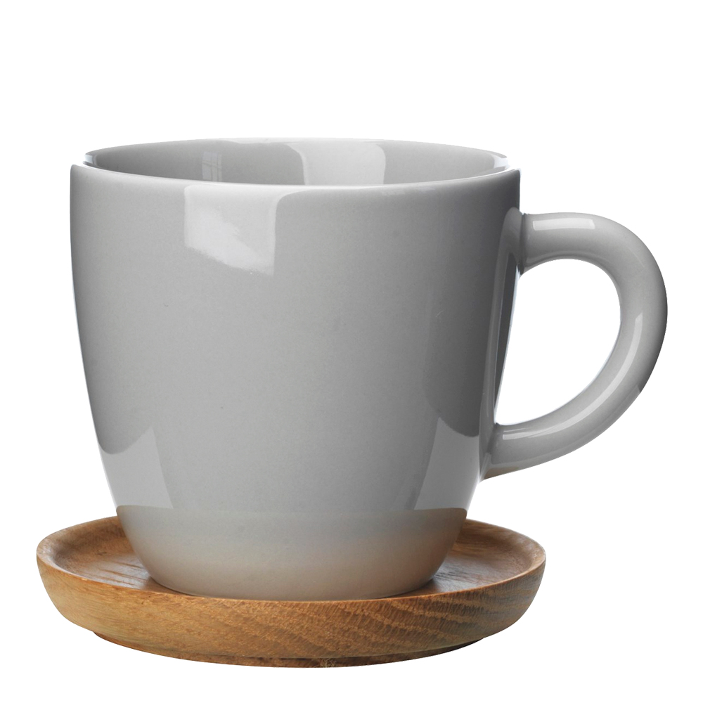 Kaffemugg med träfat 30 cl Kiselgrå