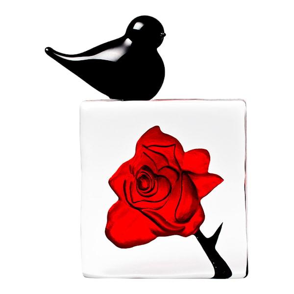 Black Bird Röd ros med fågel 10x10,5 cm