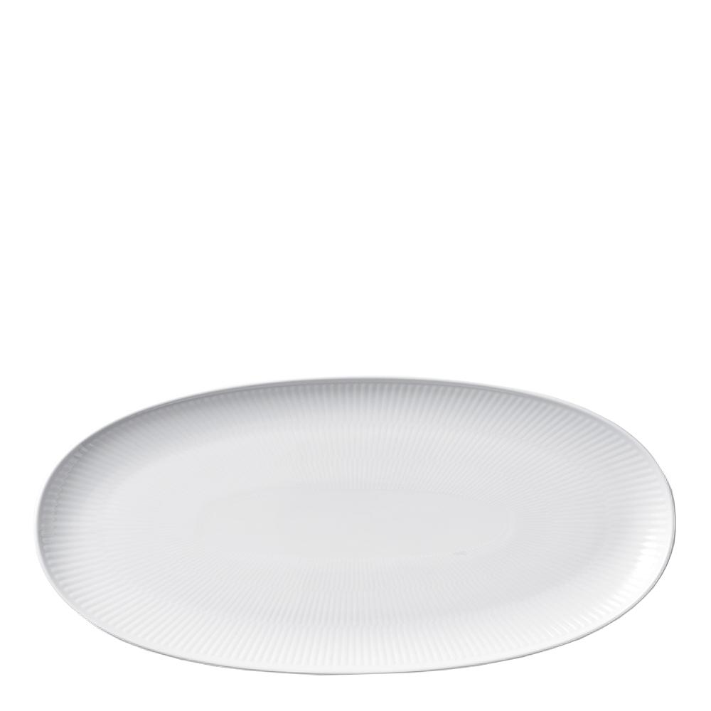 White Fluted Tallrik oval 37 cm