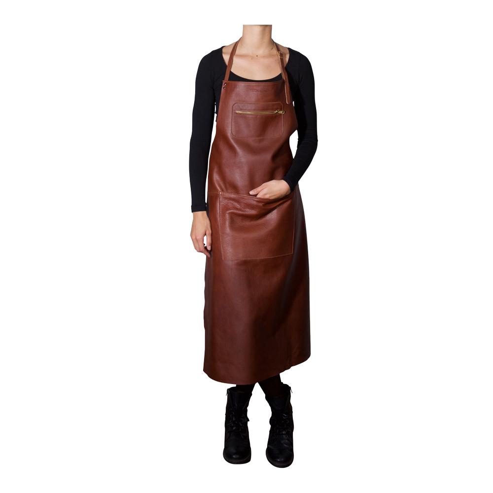 Förkläde läder brun