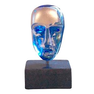 Huvud blå med silver Bertil Vallien limited edition 1000
