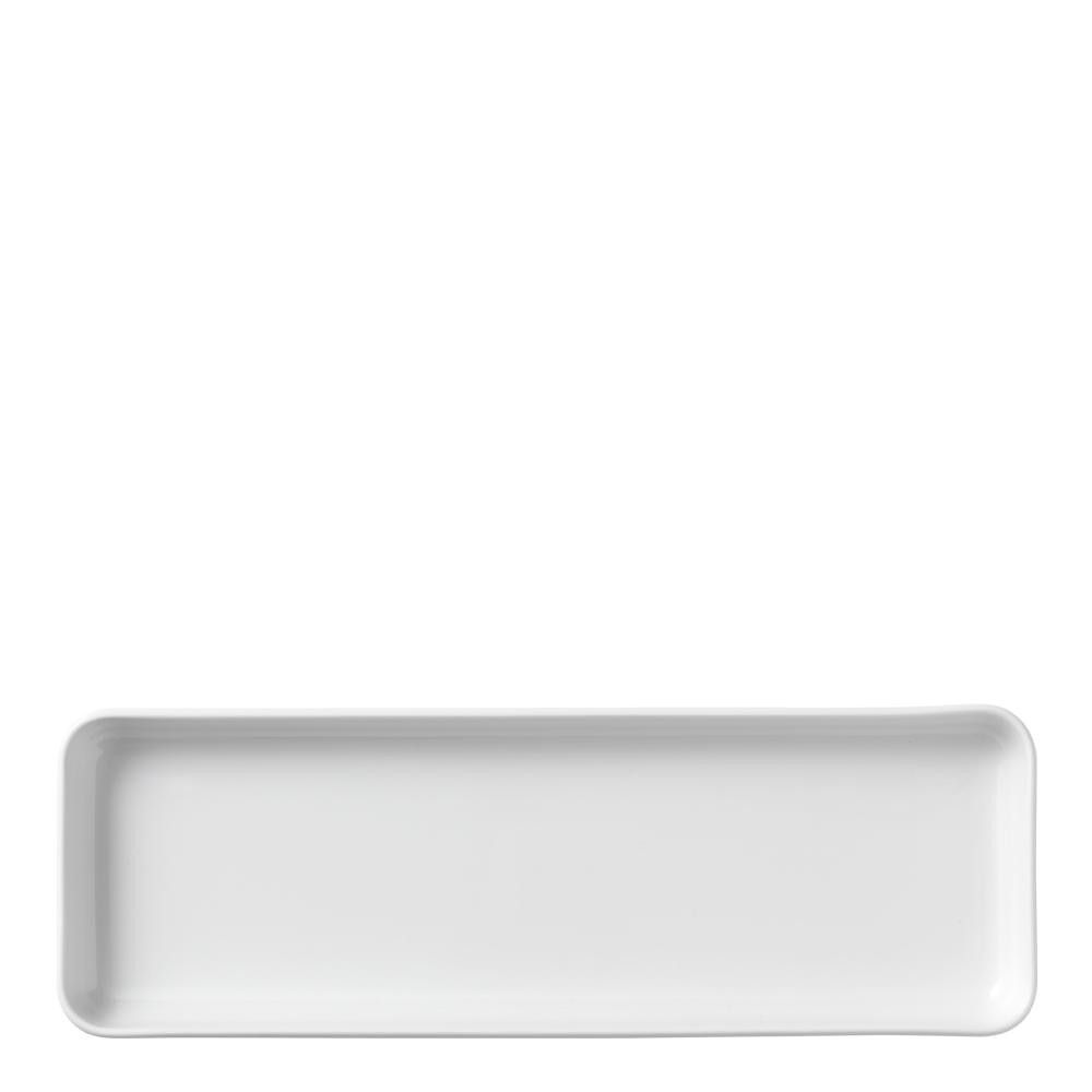 White Fluted Fat 36x12,5 cm rektangulärt