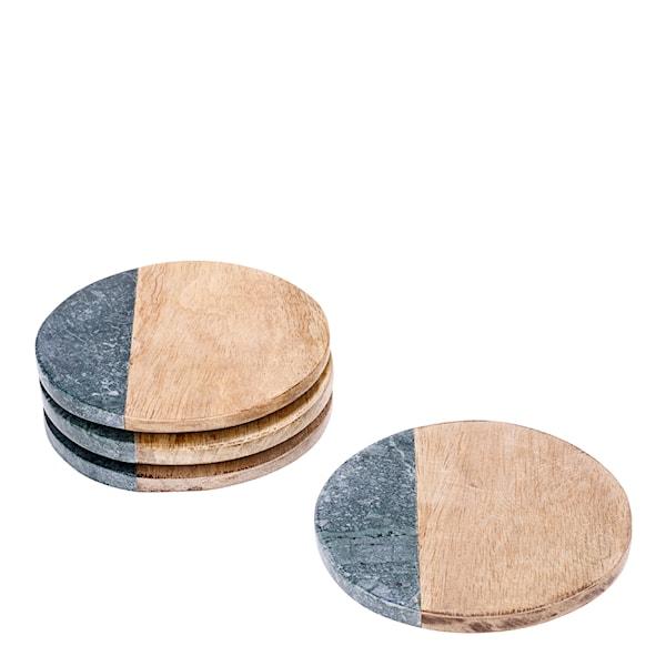 Rumours Glasunderlägg 4-pack trä/marmor Grön
