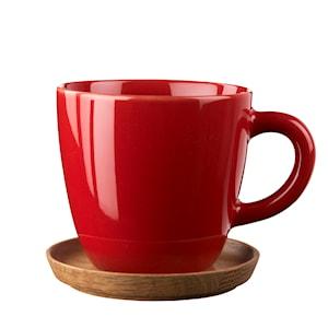 Kaffemugg med träfat 30cl Äppelröd