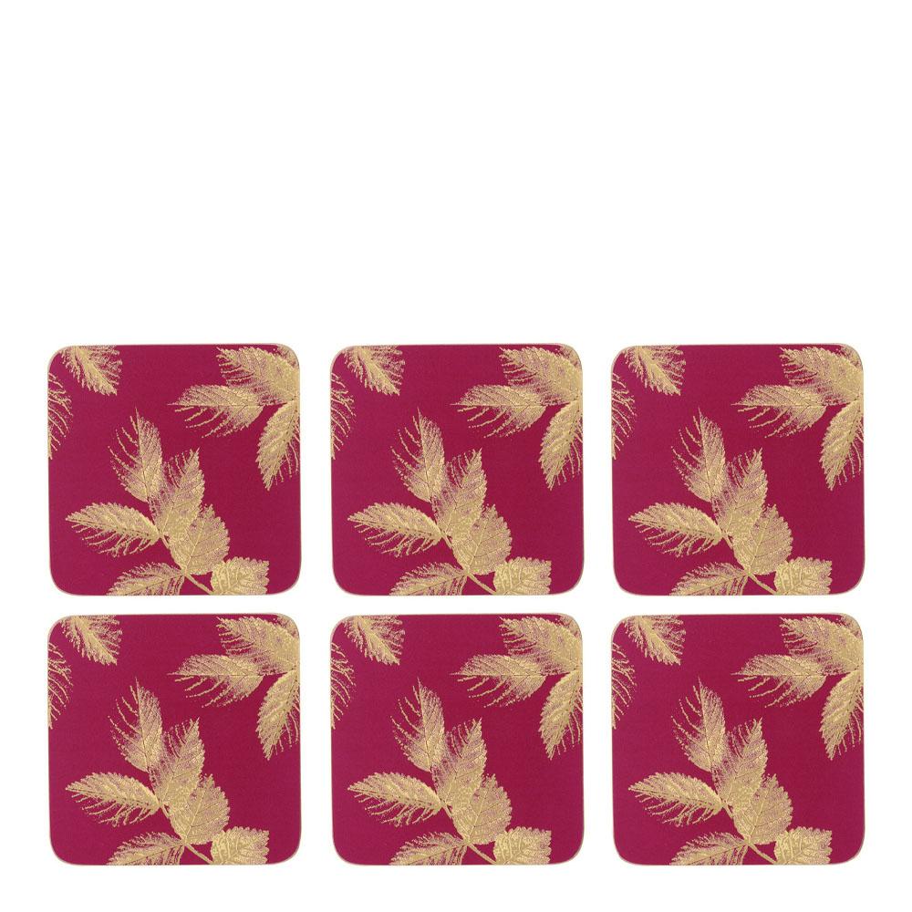 Etched Leaves Glasunderlägg 6-pack Rosa