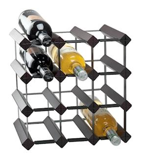 Vinställ för 12 flaskor Svart