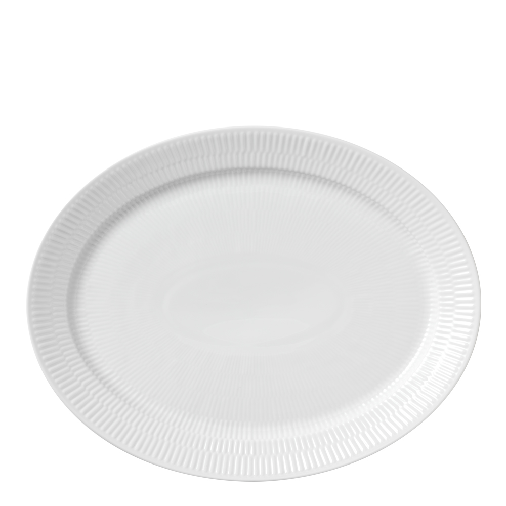 White Fluted Fat 33 cm ovalt
