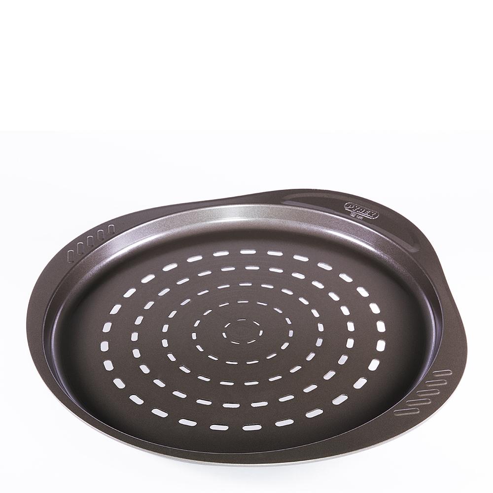 Asimetria Pizzaform Kolstål rund perforerad 32 cm