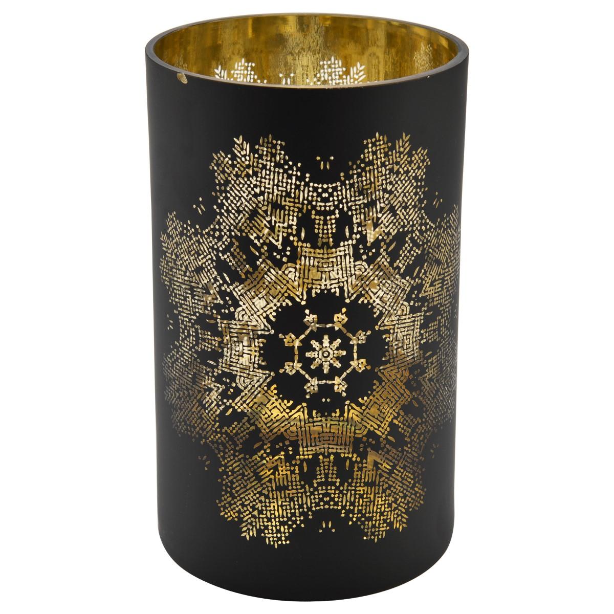 Sassari Ljuslykta 12×20 cm Svart/Guldmönster
