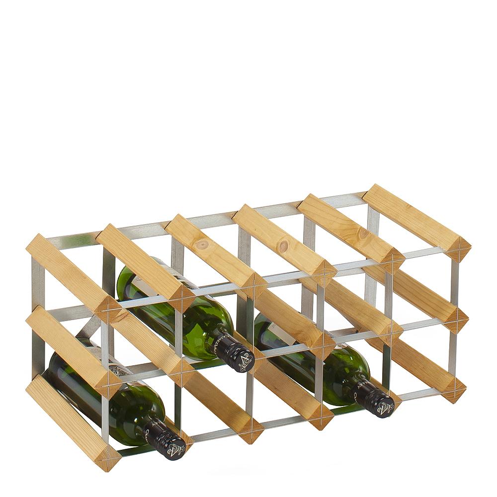 Påbyggnadsbart Vinställ för 15 flaskor ljust Trä