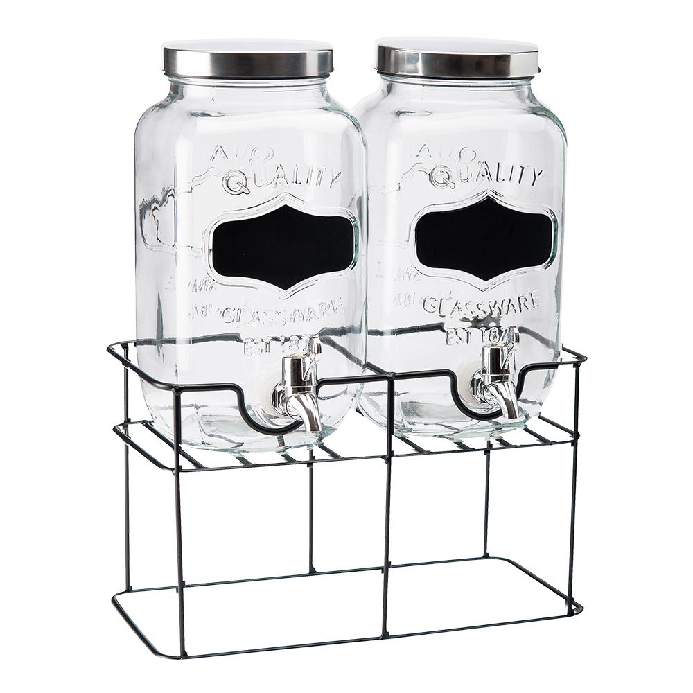 Glasbehållare dubbel med tappkran 3,3 L
