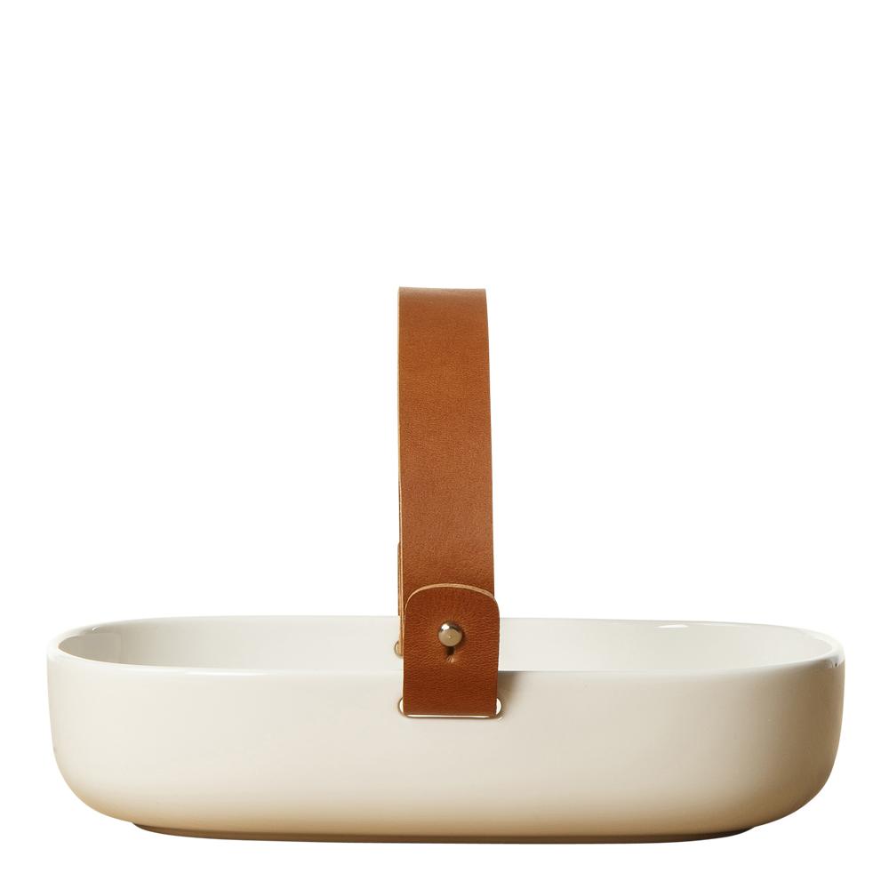 Koppa Fat 14×20 cm Vit med läderhandtag