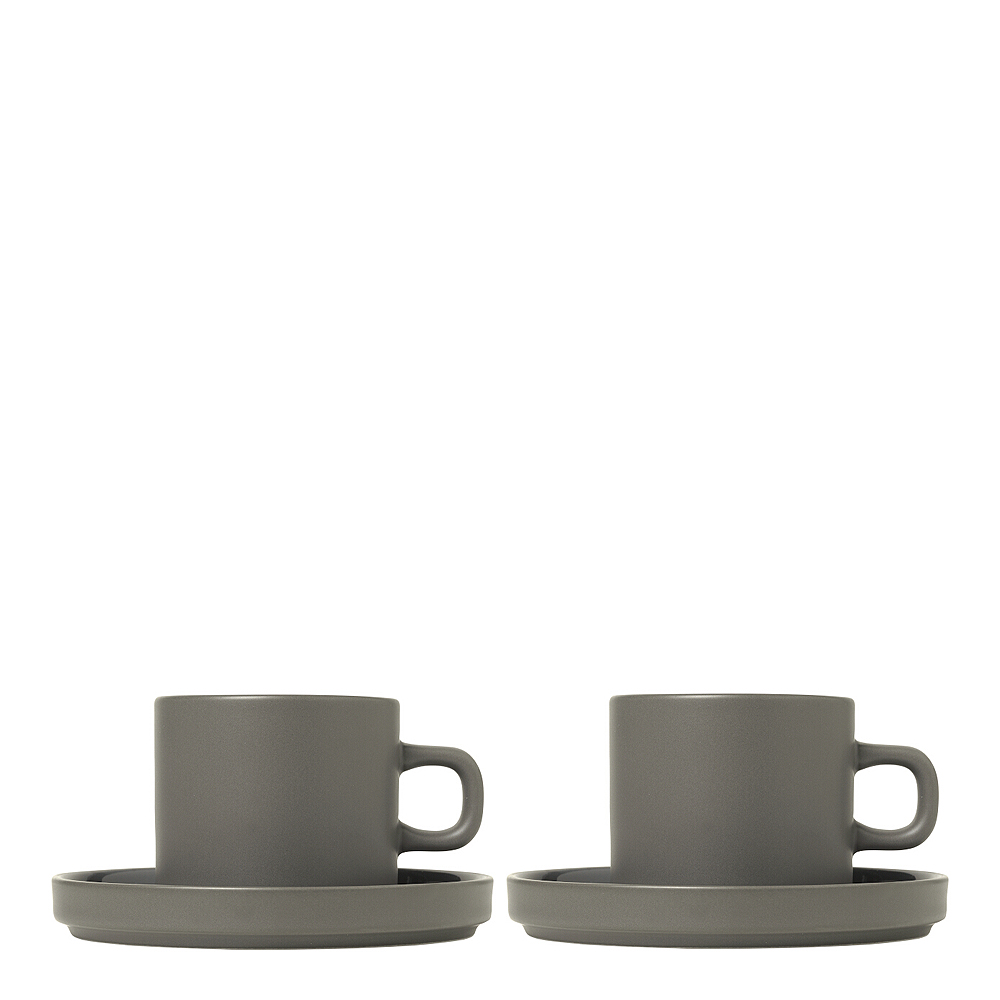 Pilar Kaffemugg med fat 2-pack Pewter