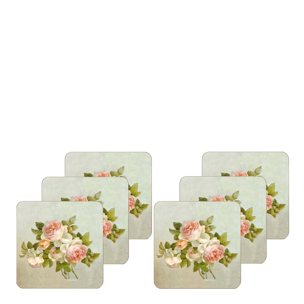 Antique Rose Glasunderlägg 6-pack